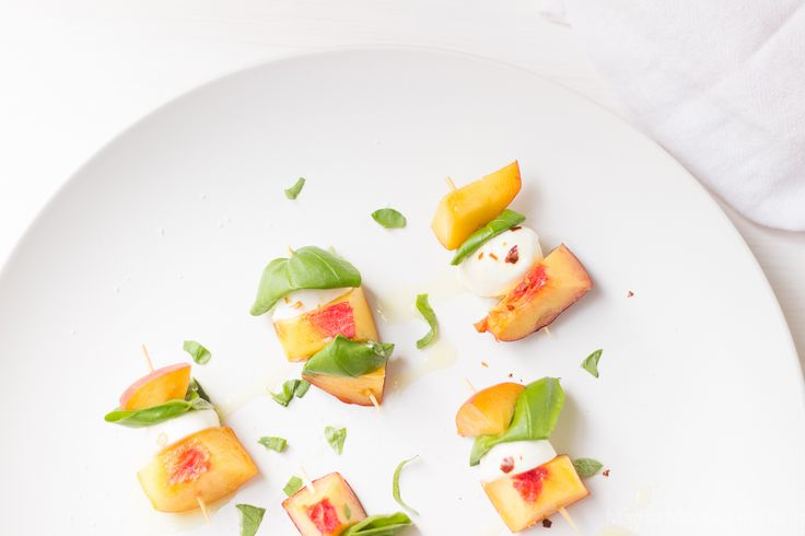 This fresh peach appetizer will be your new favorite summer bite. You only need 5 ingredients and about 5 minutes to take these to the table or the pool!