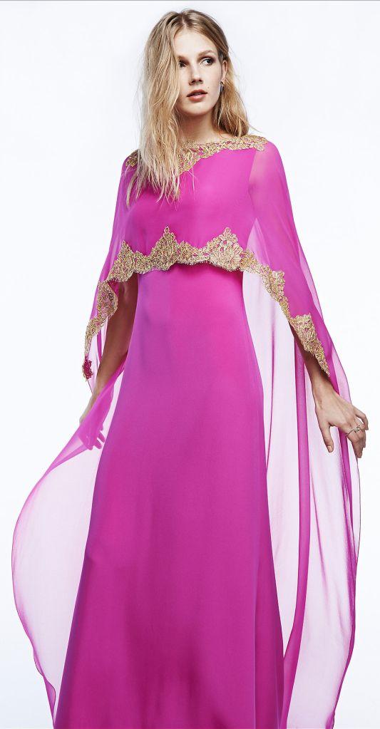 reem acra · fashion · resort 2015 · dress · short dress · long dress · evening dress · kaftan · hot pink· magenta · gold