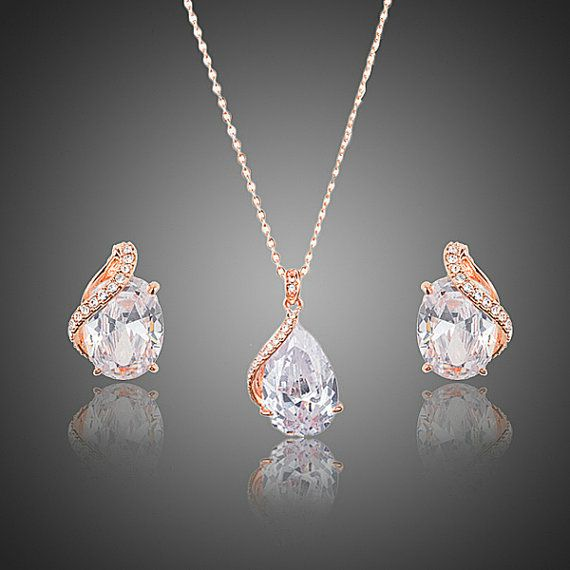 Rose Gold Bridal Jewellery Sets Wedding by CrystalJewells on Etsy