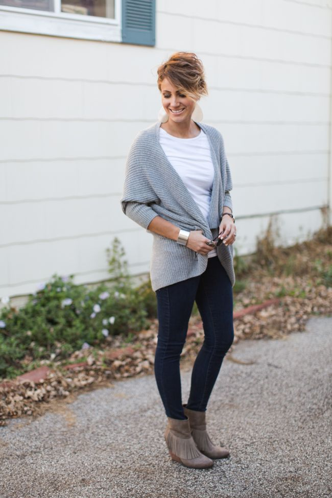 ONE little MOMMA: Fringed Boots and Cocoon Cardigan