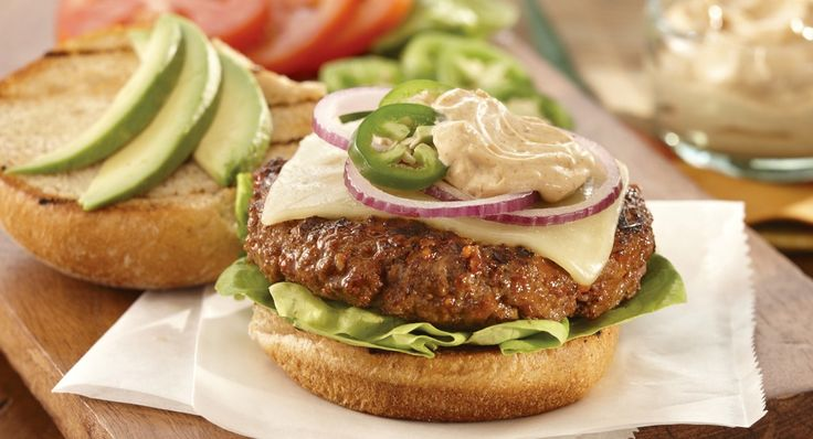 MEXICAN BURGERS WITH SPICY RANCH SAUCE RECIPE: ~ From: Lawry's Foods.Com ~ Prep Time: 15 min; Cook Time: 12 min; Servings: (6) ~ Keep your love of Mexican food going when you grill. These burgers are seasoned with Lawry's® Taco Seasoning Mix then topped with Monterey Jack cheese and a spicy sauce. Serve with toppings like guacamole and salsa