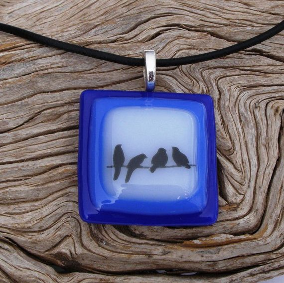 4 Birds on a Wire Fused Glass Pendant  by GreenhouseGlassworks