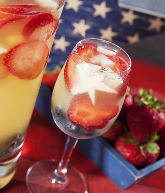 Red, White and Blue Sangria: Combine all of these ingredients in a large pitcher, stir and then chill in the fridge for at least four hours. Sliced strawberries, Blueberries, Pineapples cut into star shapes, 2 bottles dry white wine, 1 cup Triple Sec, 1/2 cup berry-flavored vodka, 1/2 cup fresh lemon juice, 1/2 cup simple syrup