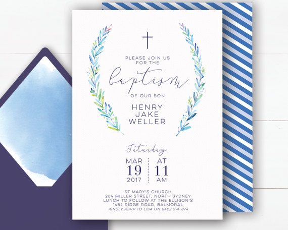 Invite your guests to celebrate your childs baptism with this simple but distinguished 5 x 7 inch digital invitation featuring a soft blue and green colour palette with a coordinating blue and white striped back design.  This invitation will be personalised with your custom text for your special event. I will then send you a message via Etsy/email with a proof of the design for your approval. ______________________________________  THIS LISTING INCLUDES  - 5x 7 Customised Digital Invitat...