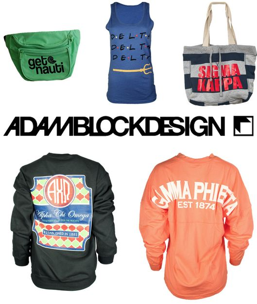 """Sorority fashions & accessories go way beyond bid day... Tell your chapter about the sorority sugar • Adam Block Design PREF PROMO CODE and SAVE!! ❉ USE CODE: """"SORORITYSUGARAUG"""" for 10% OFF ANY chapter Bulk Order or BlockBuy/Crowdfunded Order!! ❉ VALID UNTIL: 9/3/15! http://www.adamblockdesign.com/"""