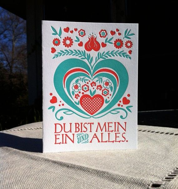 Letterpress German Love Card  Red and Bavarian by concreteLace, $5.75