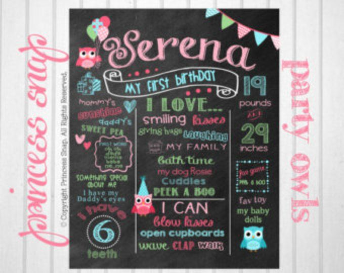 Owl First Birthday Chalkboard - Owl 1st Birthday Milestone Poster Sign Birthday Printable File