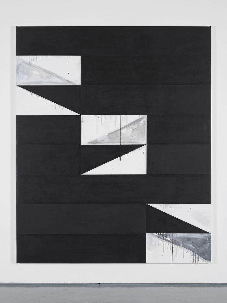 Gardar Eide Einarsson [Norway] (b 1976) ~ 'Sie gerieten auf das falsche Gleis (von den Iden des März bis Jalta)', 2017. Acrylic, Gesso and Graphite on Canvas (180 x 220 cm). | #art #painting #hardedge #minimalart #conceptual_art