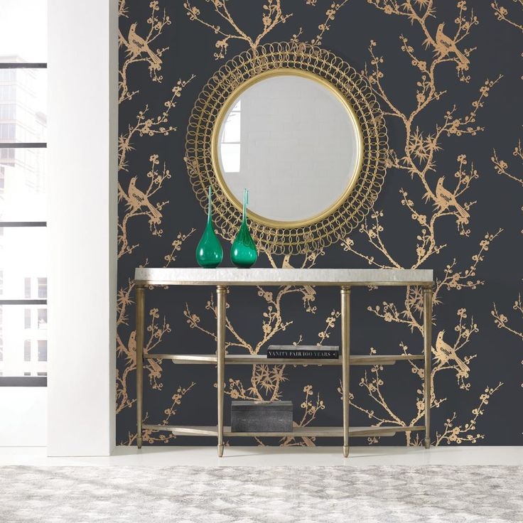 Cynthia Rowley for Tempaper Bird Watching Black and Gold Self-Adhesive Removable Wallpaper, Black & Gold