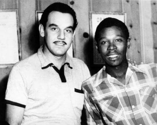 Blues legend BB King poses for a portrait with band leader Johnny Otis in circa 1952. (Photo by Michael Ochs Archives/Getty Images)