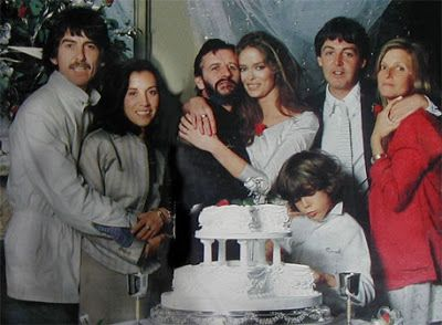 George and Olivia Harrison, Ringo Starr and Barbara Bach, and Paul and Linda McCartney at Ringo and Barbara's wedding, 1981 via reddit