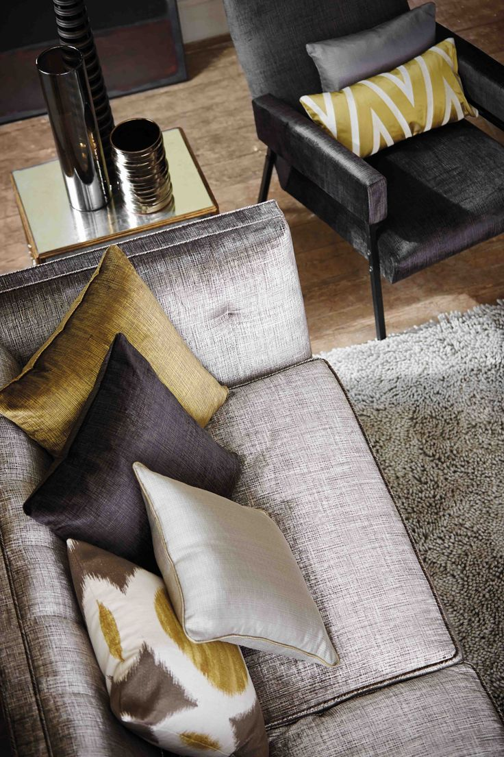 Luxurious velvets and weave fabrics from Harlequin momentum collection.