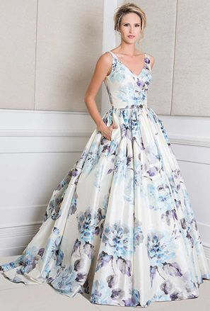 v-neck floral print wedding dress with full skirt @myweddingdotcom
