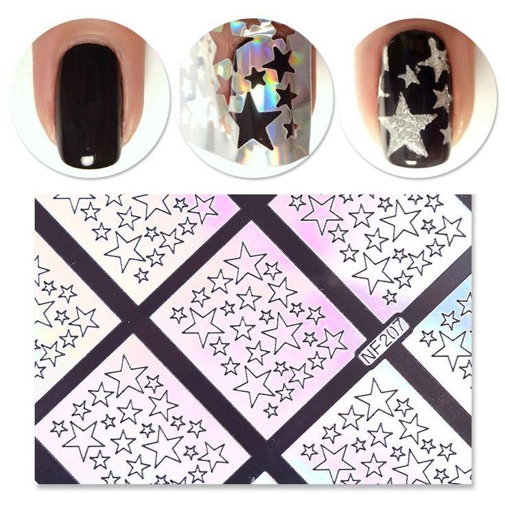 9 Tips/Sheet Laser Star Nail Vinyls Nail Stencils Hollow Nail Sticker Nail Art Tools for DIY NF207 #23872