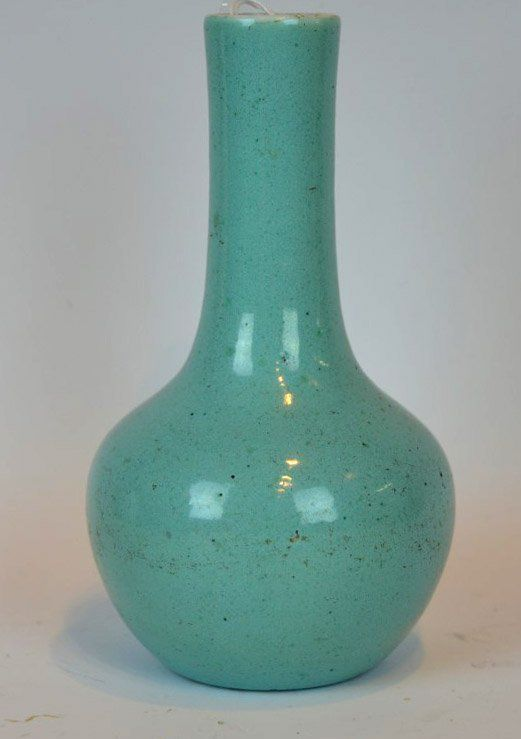 18th or 19th Century Chinese Porcelain Turquoise Glazed Vase with a well defined footrim. Height 6 inches