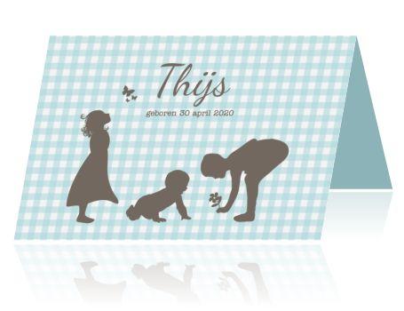 Geboortekaartje jongen derde kindje met silhouet broer