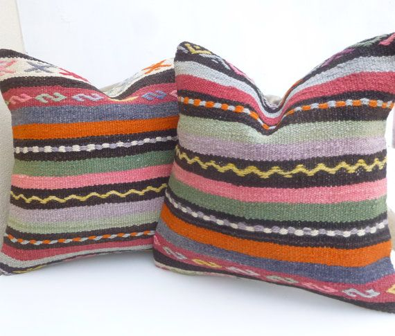 Set of 2 Kilim Pillow covers with colorful Pastel Stripes, Sofa Throw cushions, Original Turkish ...