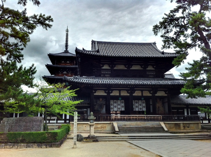 Horyu-ji, the oldest wooden temple in Japan.