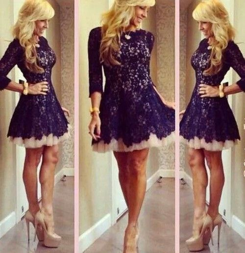 Charming 3/4 Sleeves Lace Prom Dress,Knee Length Party Dress,Homecoming Dress