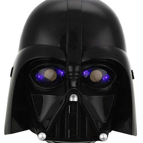 Máscara de Darth Vader .-.-.-----.. .-.-.-... -...-.-  Máscara de Darth Vader. Star Wars. Con luz led en los ojos. Fabricada en PVC con elástico. Mide 21 x 18 cms. Para niños.