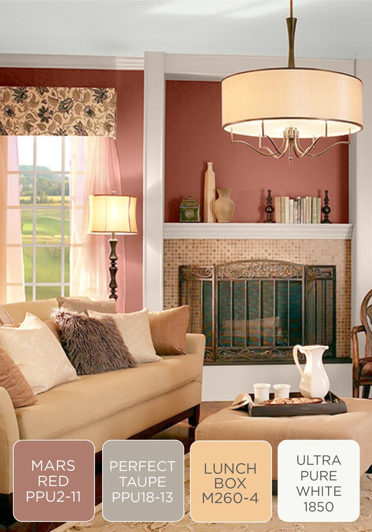 Cozy with a touch of BEHR paint in Tuscan elegance, this color scheme inspiration is truly one-of-a-kind. Check out Mars Red, Perfect Taupe gray, Lunchbox yellow, and Ultra Pure White to try out this design idea for yourself!