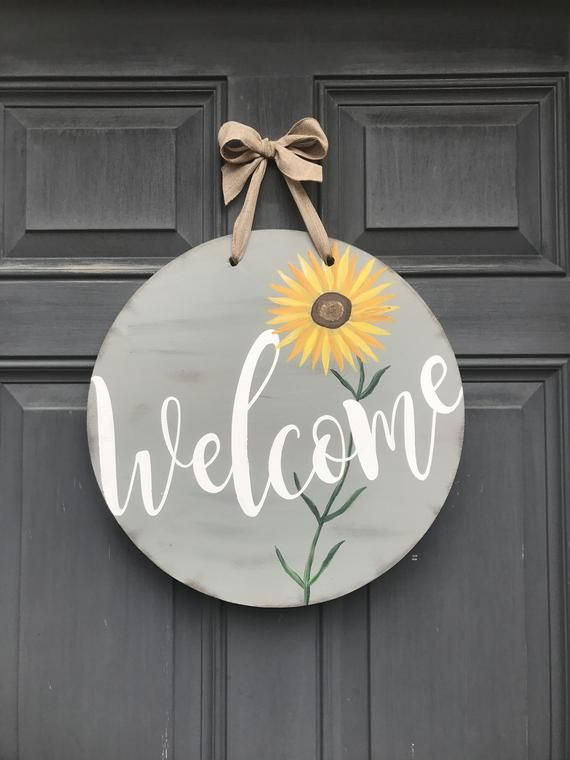 Welcome Spring Flower Door Sign Sunflower Blue Round Front Etsy In 2020 Wooden Door Signs Door Decorations Sunflower Door Hanger