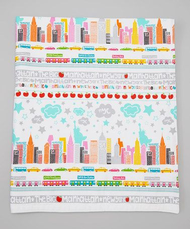Take a look at this Gray & Aqua  New York City Stroller Blanket by Textile Trolley on #zulily today!