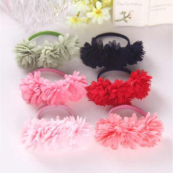 Chiffon flowers children baby girls hair accessories rubber bands barrettes girl headwear bow Retail wholesale Boutique