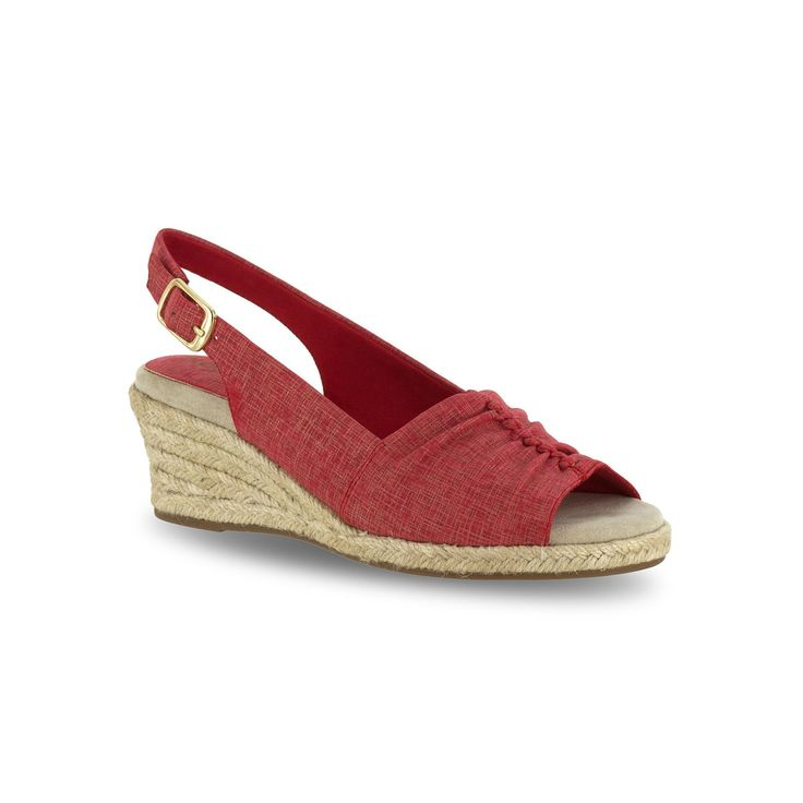 Easy Street Kindly Women's Espadrille Wedge Sandals, Size: medium (9.5), Red