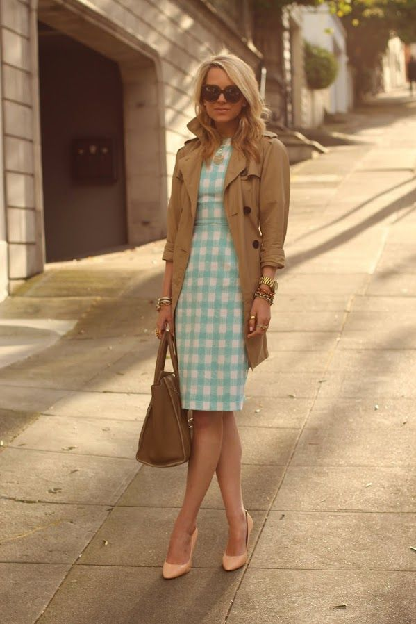 adorable gingham: Baby Blue, Girls Generation, Color, Teacher Clothing, Blue Gingham, Work Outfits, The Dresses, Trench Coats, Gingham Dresses