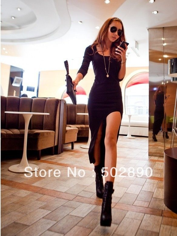 Free shipping 2013 spring summer women's New Fashion Lady's Long Sleeve Long Dress dovetail long dresses Two colors $9.90