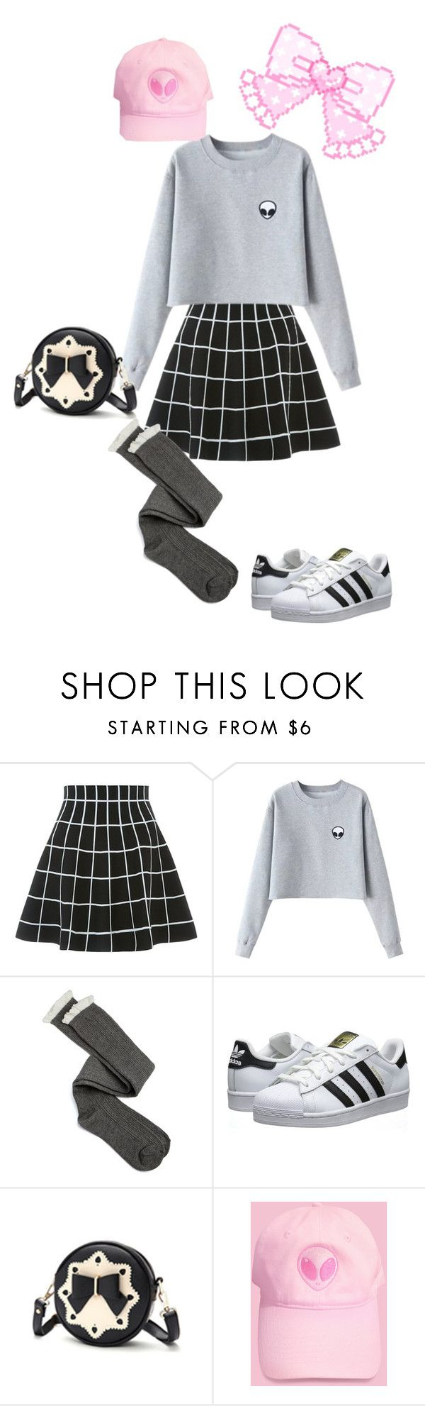 """""""Alien Music"""" by flowers-and-stars ❤ liked on Polyvore featuring Charlotte Russe and adidas Originals"""