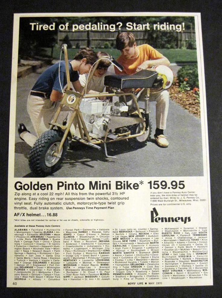 Golden Pinto Mini Bike Ad And Be Hassled By The Fuzz ツ