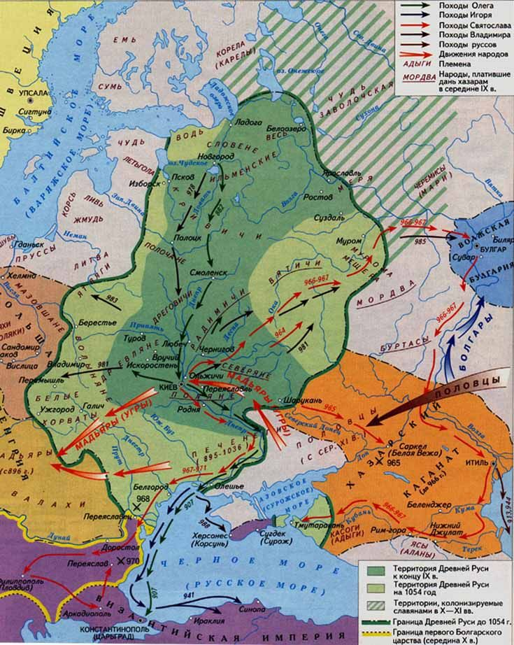Ancient Rus In The Ix Xi Centuries Dark Green Is The End Of Ix