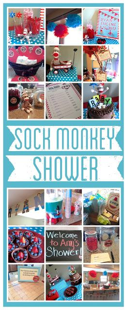 Sock Monkey Baby Shower.  fun 1st birthday idea too.