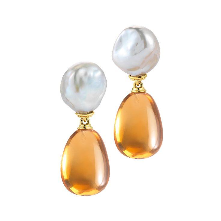 """Seaman Schepps """"Seville"""" Baroque Pearl & Citrine Drop Earrings"""