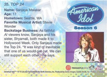2007 Comic Images American Idol Season 6 #35 Sanjaya Malakar Back
