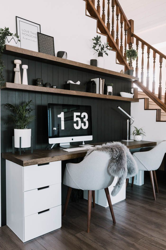 Our Diy Computer Desk Reveal With Images Modern Computer Desk