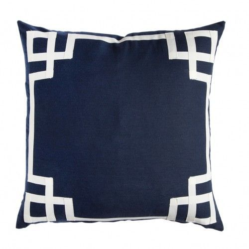Top fabulous navy throw pillow finds that are sure to spruce up any space. We are coordinating Navy with coral and red geometric drapery by Sarah Richardson.
