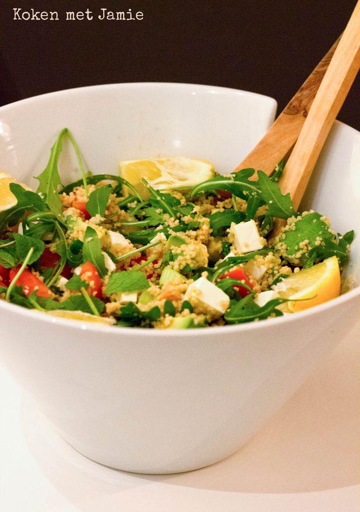 Couscous salade met avocado en feta