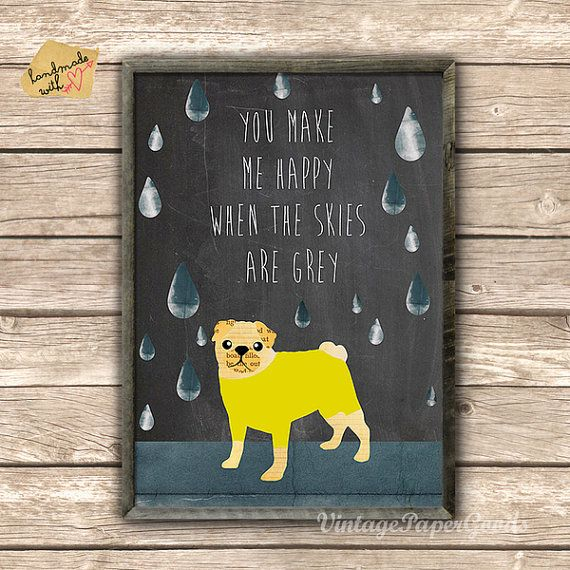 Cute Pug Collage on chalkboard background typography by GreenNest, $14.00