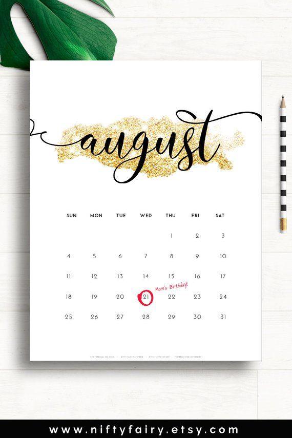 2019 Printable Calendar 2019 Gold Calendar 2019 Wall Calendar