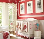 Baby Girls Nurseries, love the idea of the huge frames with black