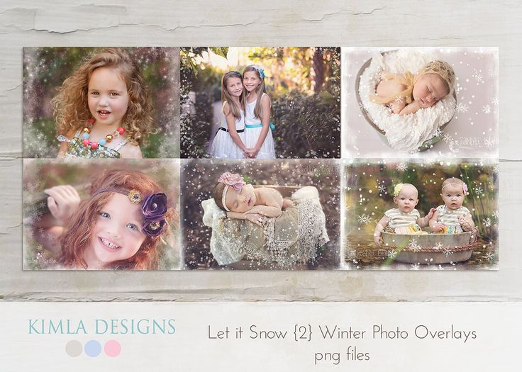 Let it Snow Winter Photo Overlays 2 png files by KimlaDesigns, $9.99