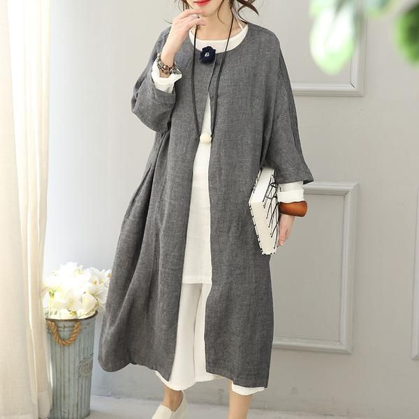 Round Neck Linen Women Windbreaker