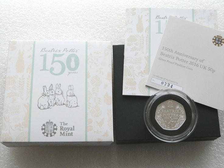 2016 Piedfort Beatrix Potter 150th Anniversary 50p Fifty Pence Silver Proof Coin