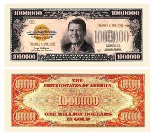Set of 1000 – Thanks A Million Dollar Bill Ronald Reagan