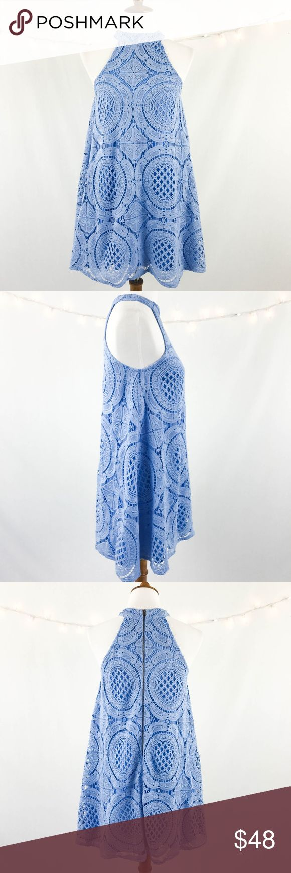 "Judith March Dress Small Periwinkle Crochet A-line Judith March Women's Dress Small Periwinkle Blue Lace Crochet A-line Sleeveless  Type: Dress  Style: A-line  Brand: Judith March  Material: 100% Polyester  Color: Periwinkle Blue  Measurements: Length: 35"" Bust: 18""   Condition: No snags, pilling, or stains.  Country of Manufacturer: China Judith March Dresses"