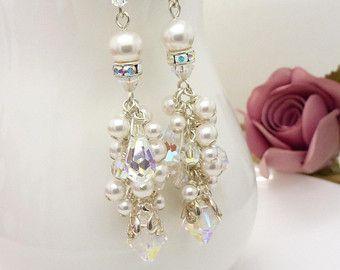 Crystal chandelier earrings long clear от CreativityJewellery