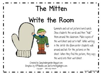 The Mitten Write the Room Center: Center Ideas, Rooms Center, Mittens Writing, Reading Language Art, Camps Kindergarten, Schools Years, Classroom Ideas